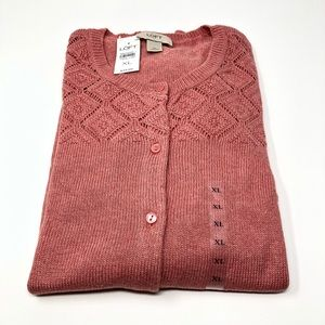NEW WITH TAGS LOFT Button Cardigan Spiced Coral